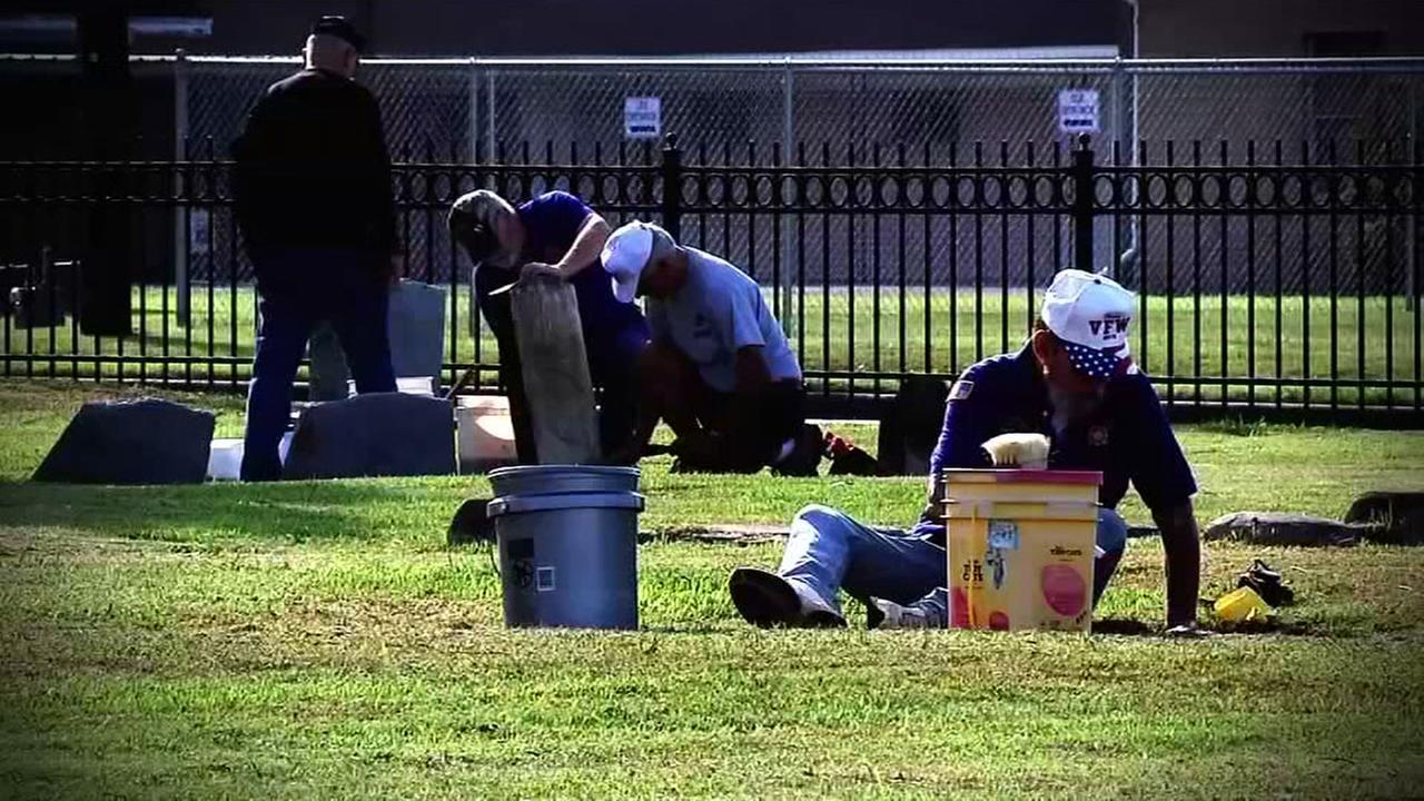 Veterans head to cemetery to clean headstones of fallen heroes