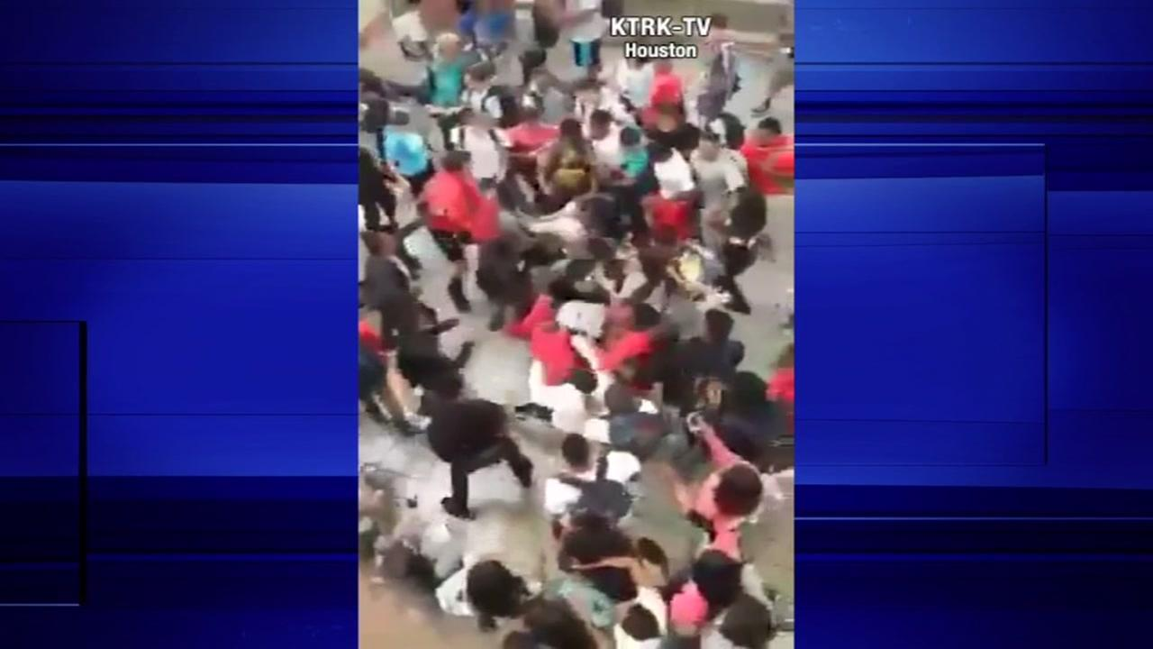 Groups of students fight during lunch at Cy Springs HS