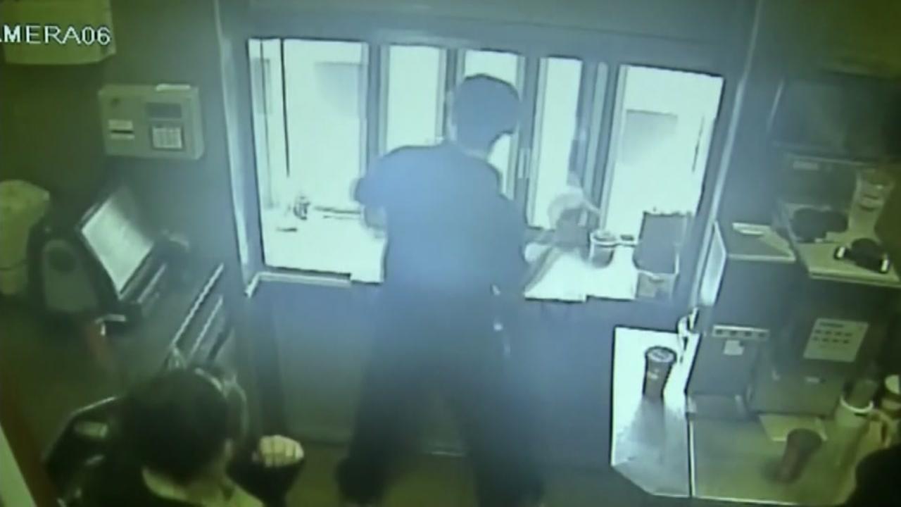 Drive-thru coffee assault on camera