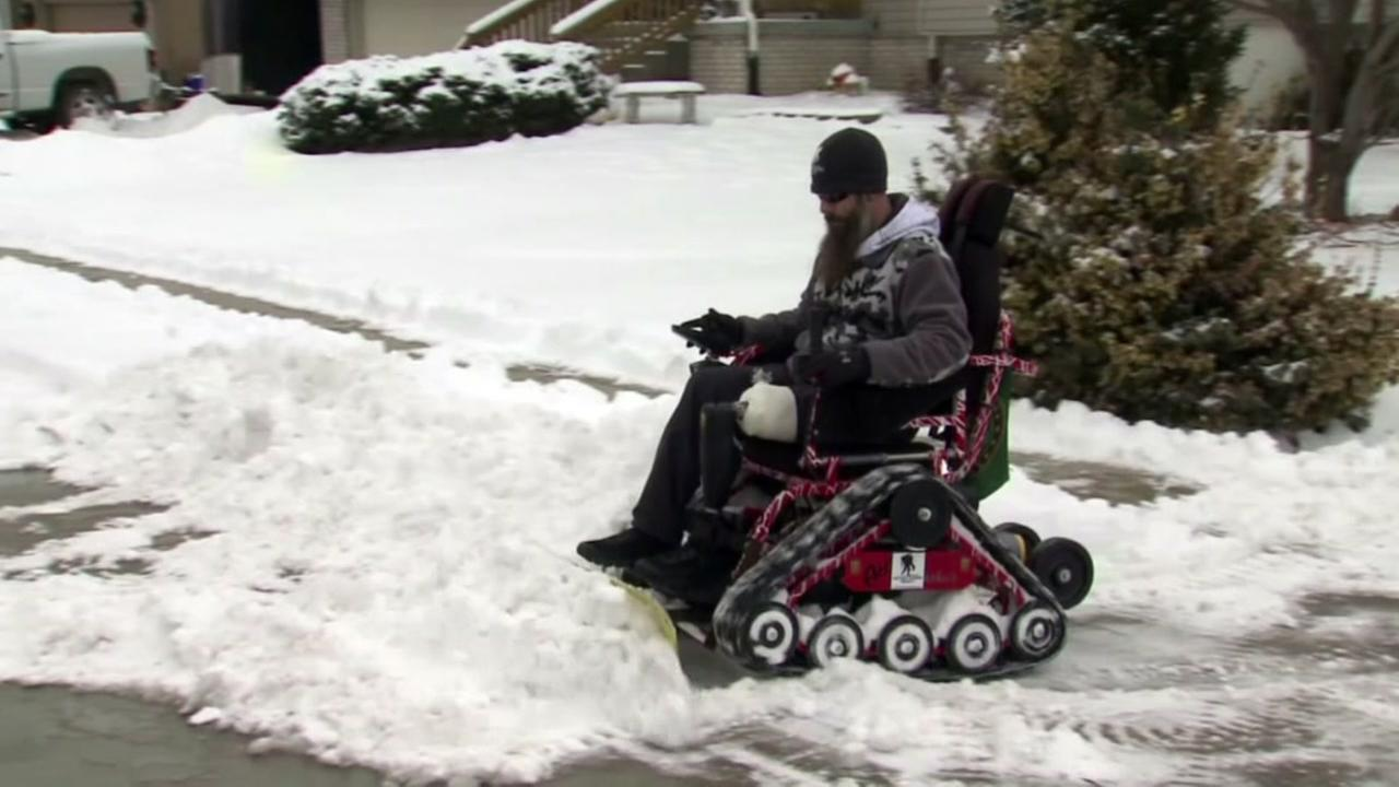 Iraq War Veteran Shovels Snow