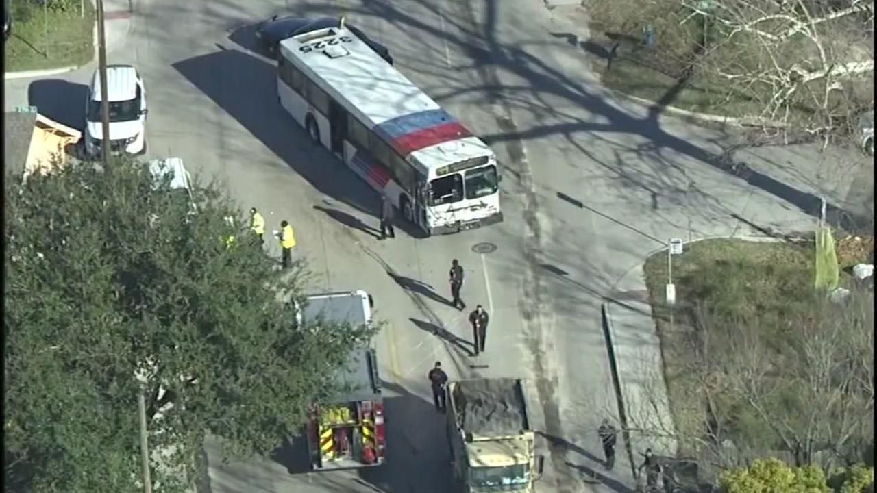 Dump truck hits METRO bus