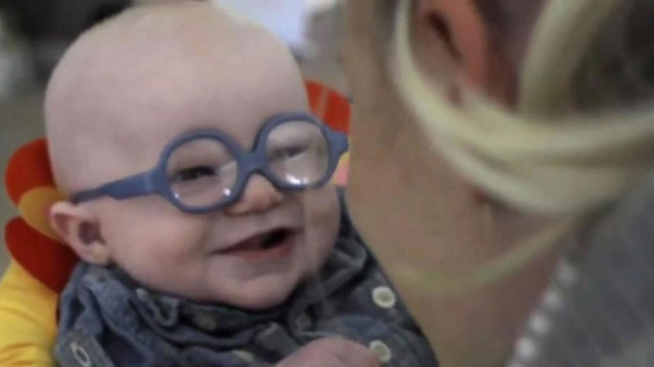 Watch Baby Sees Mom For First Time With Special Glasses