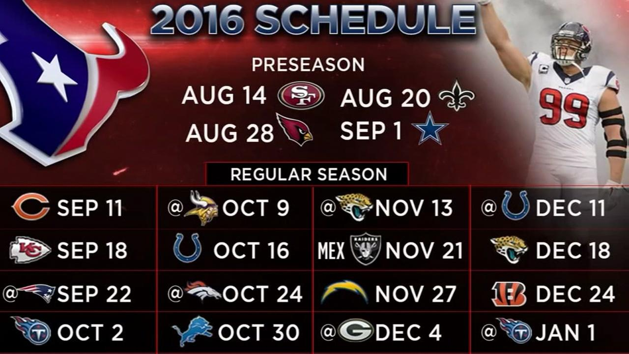 Texans 2016 schedule includes five primetime matchups | abc13.com