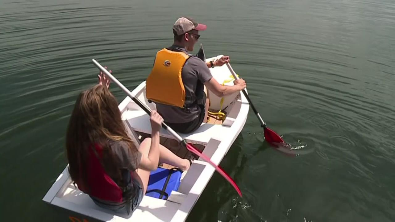 Students design, build boat out of recycled cardboard