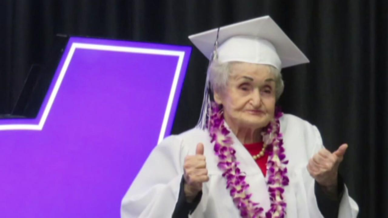 Great-grandmother graduates high school