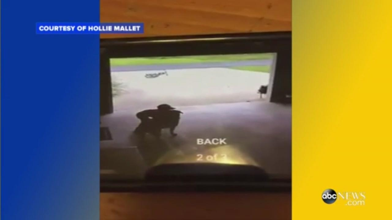 Boy sneaks into neighbors garage