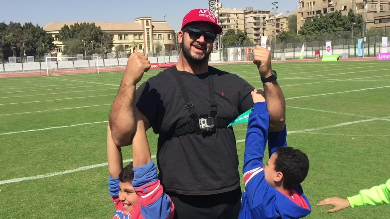 Oday Oboushi shares his passion for football with kids in Egypt