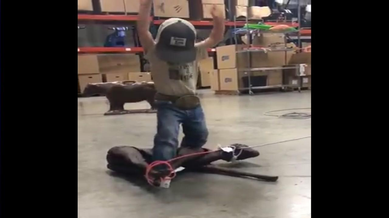 Boy gets some roping practice in