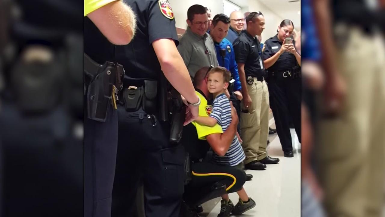 Texas police escort fallen officers son on first day of school