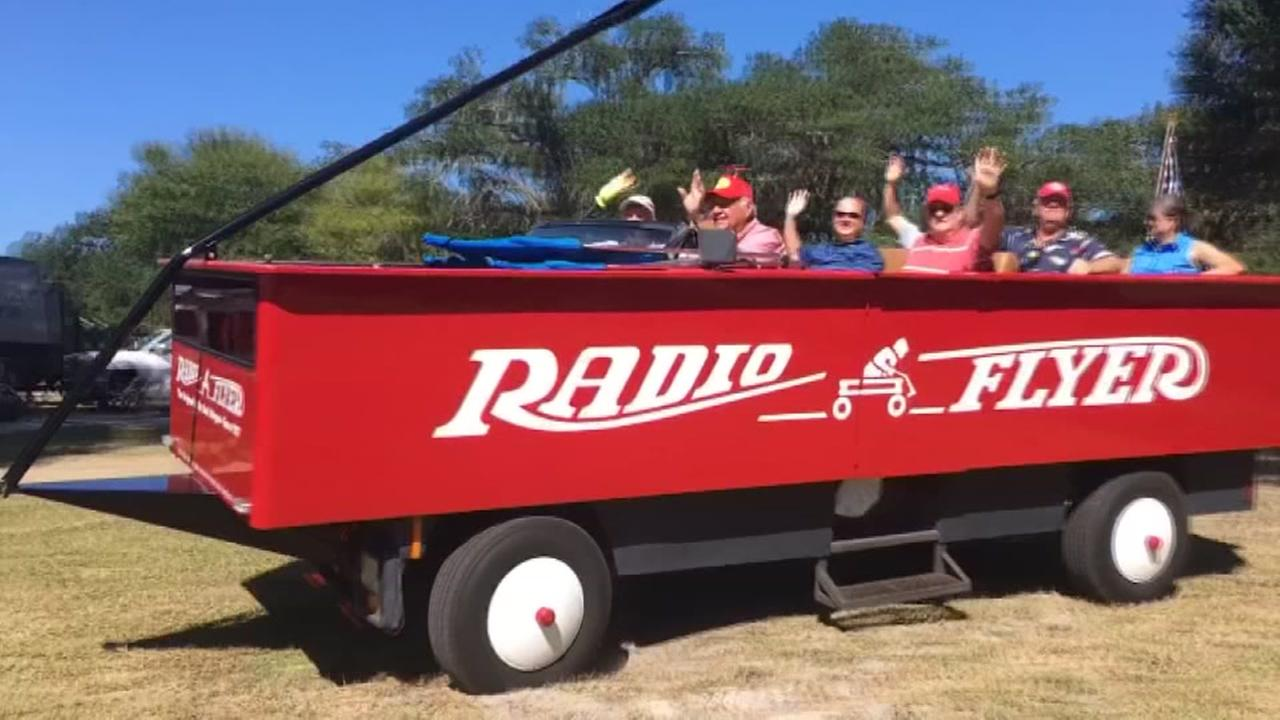 Man turns ambulance into giant Radio Flyer wagon