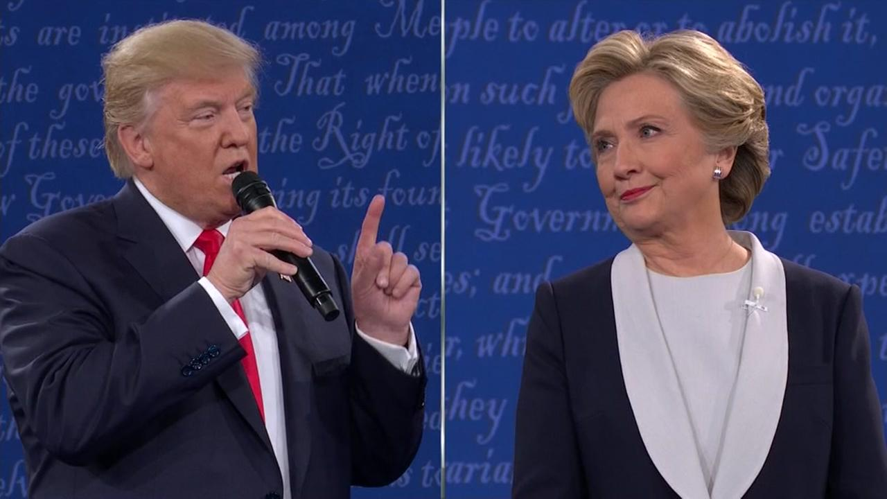 Clinton, Trump spar over vulgar tape, policy