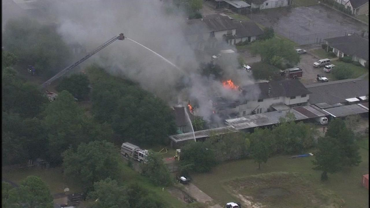 Firefighter crews battling massive fire in Humble