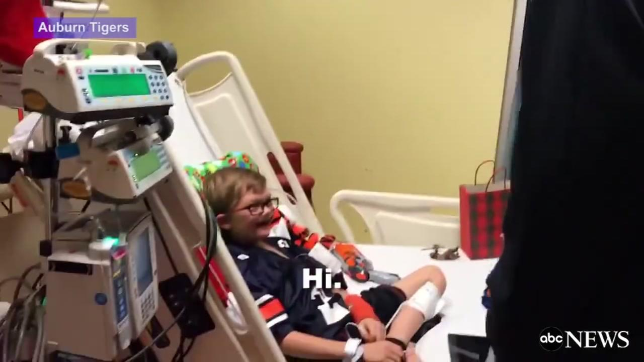 10-year-old boy battling heart condition gets visit from Cam Newton