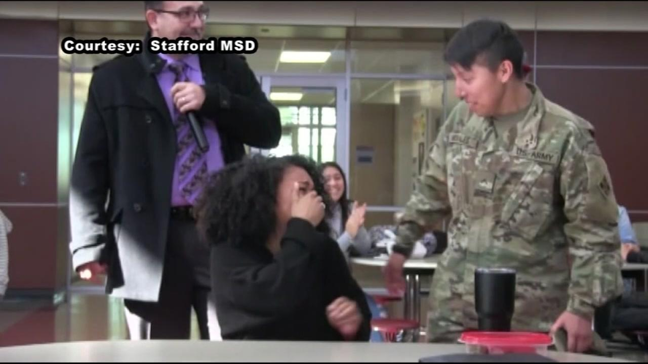Stafford student surprised by heartwarming military homecoming