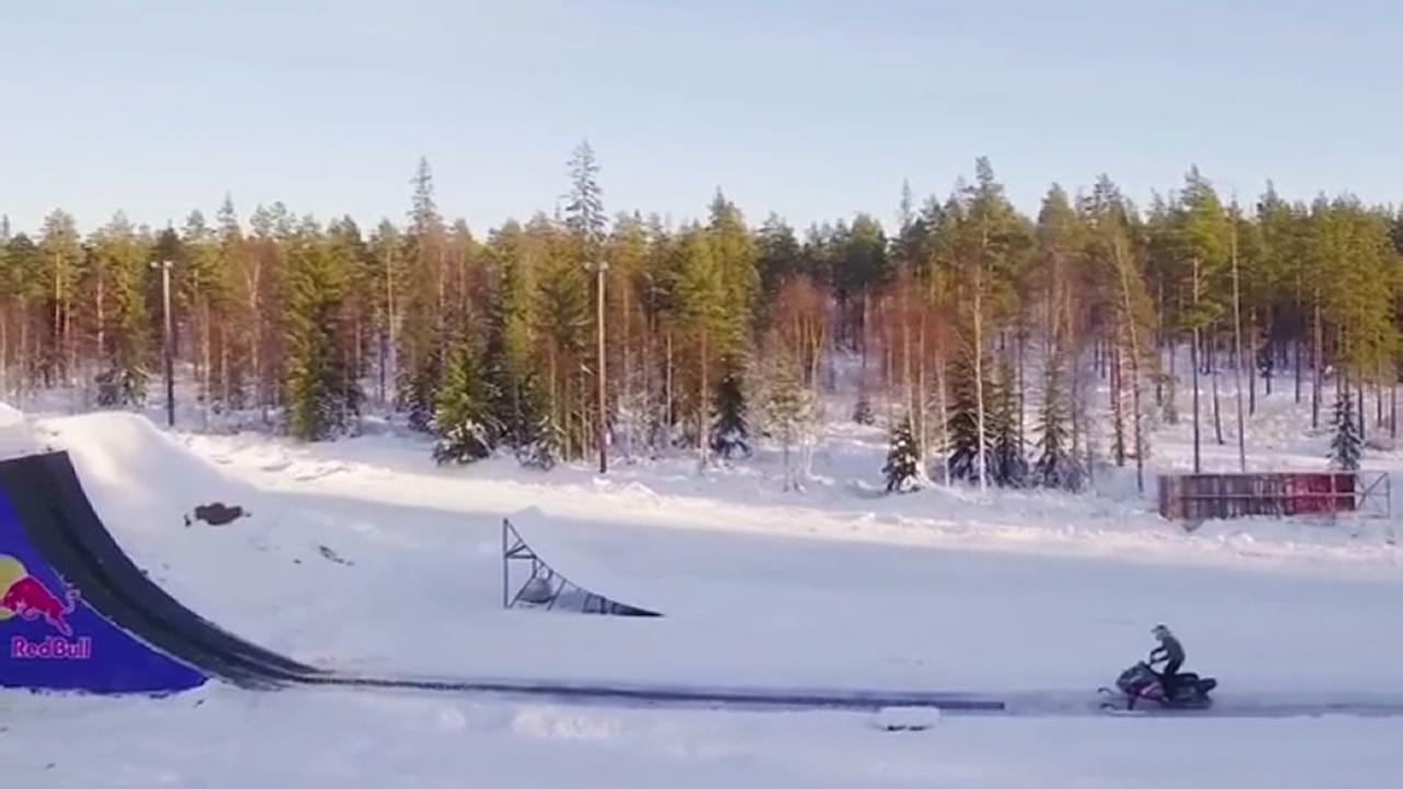 Snowmobile double backflip!
