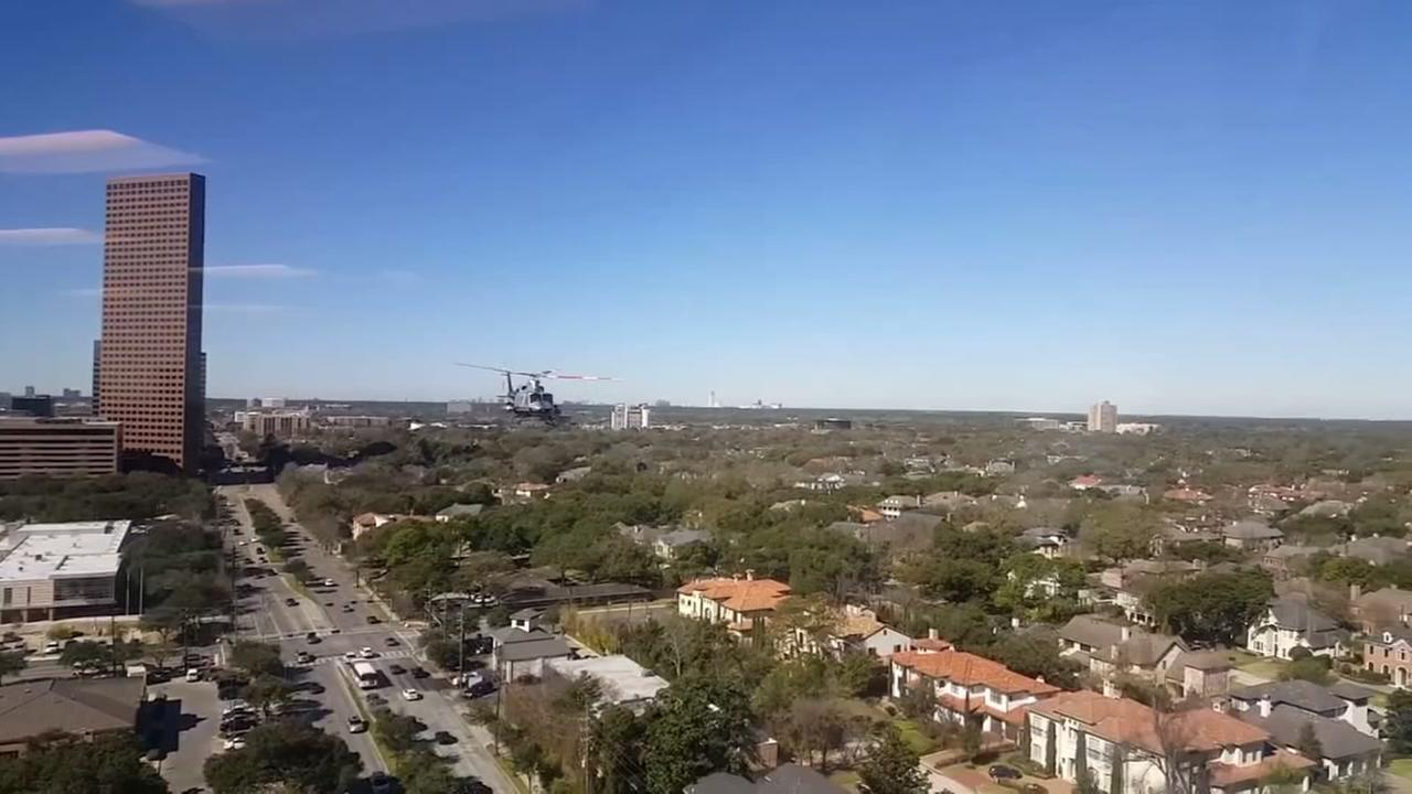 Helicopter makes low pass over Houston