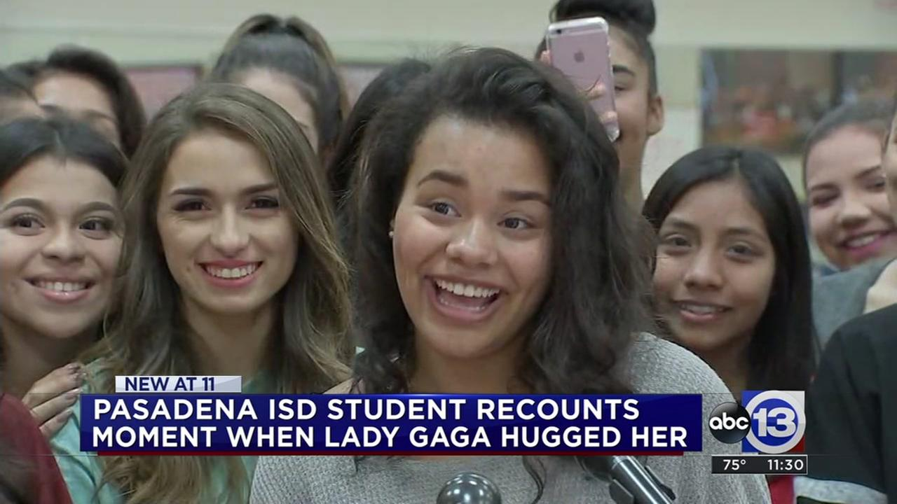 Dobie High School talks about her hug with lady Gaga
