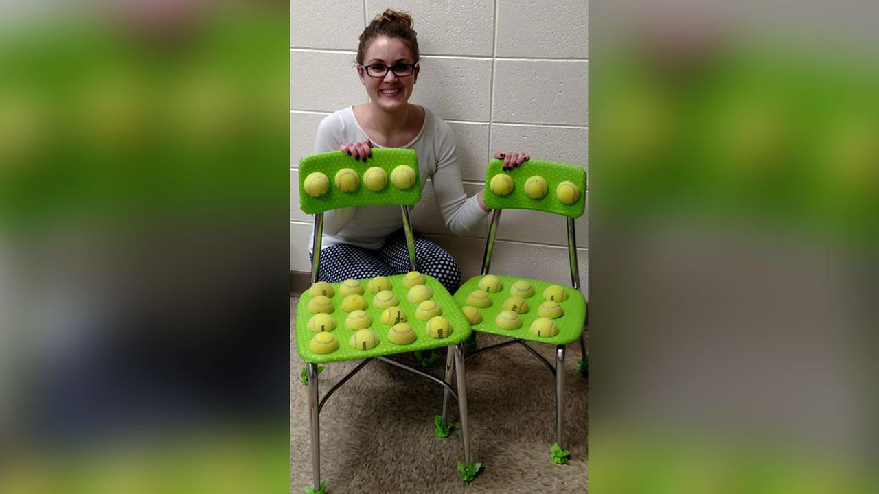 teacher creates tennis ball chairs to help students with