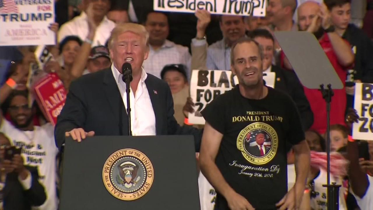 President Trump invites superfan on stage