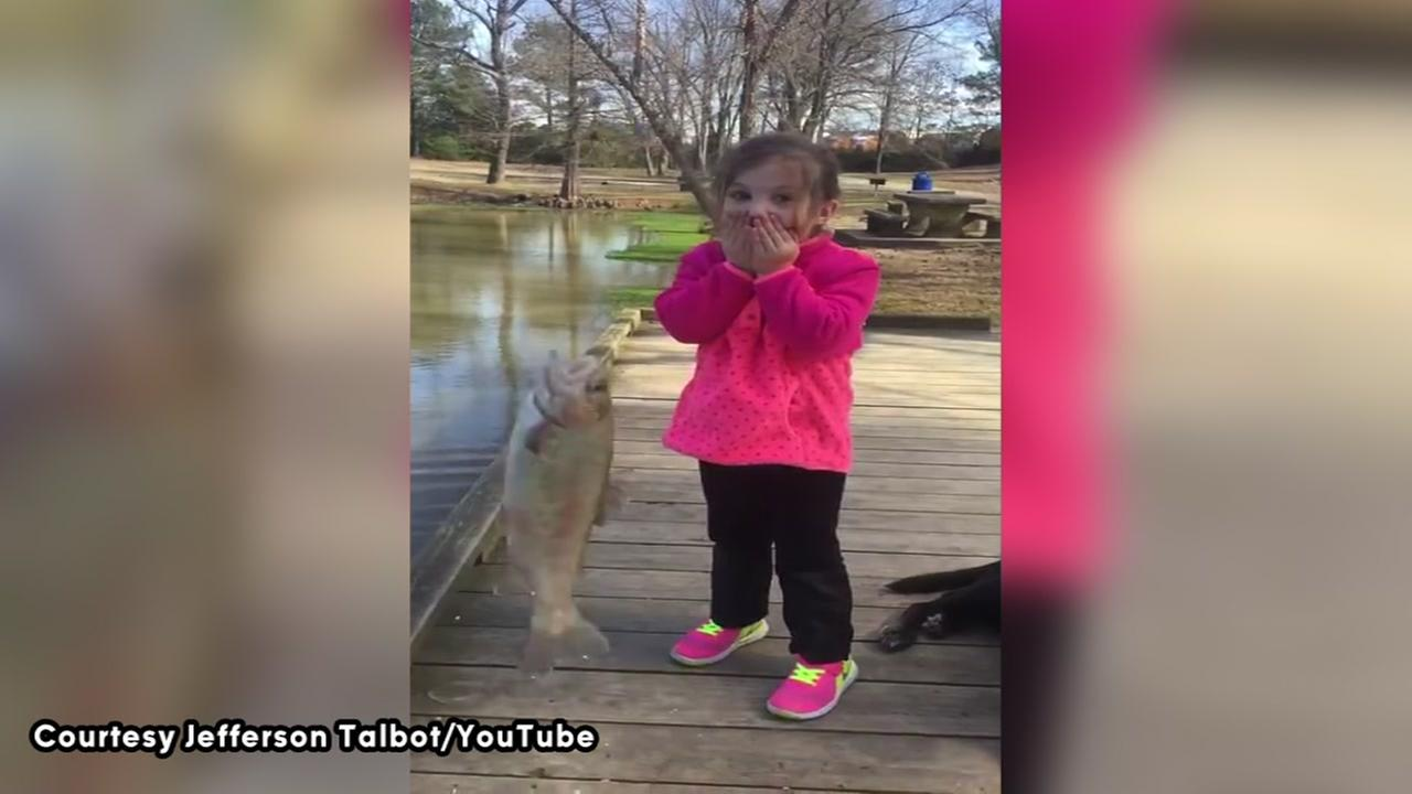 Liv catches a fish, captures worlds heart