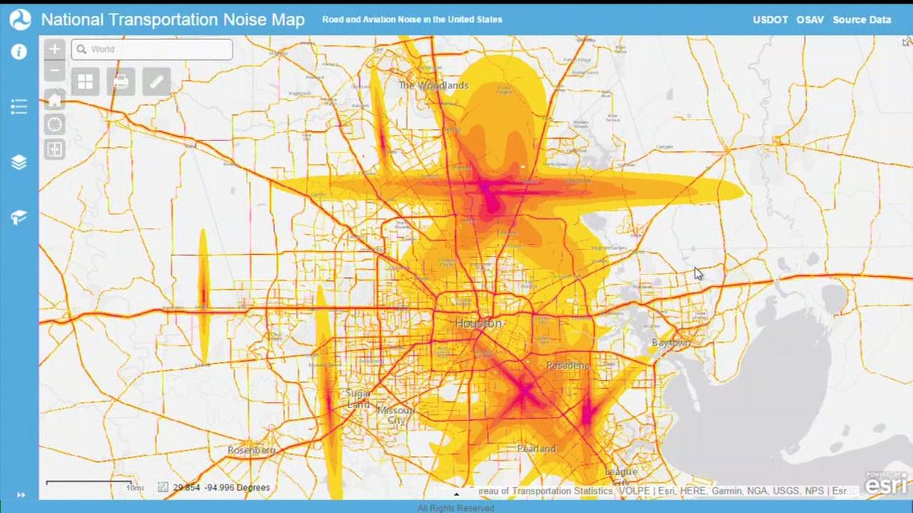 Map shows road and aviation noise in the Houston area