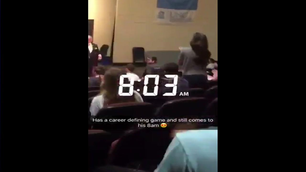 UNC player makes it to his 8am class a day after game