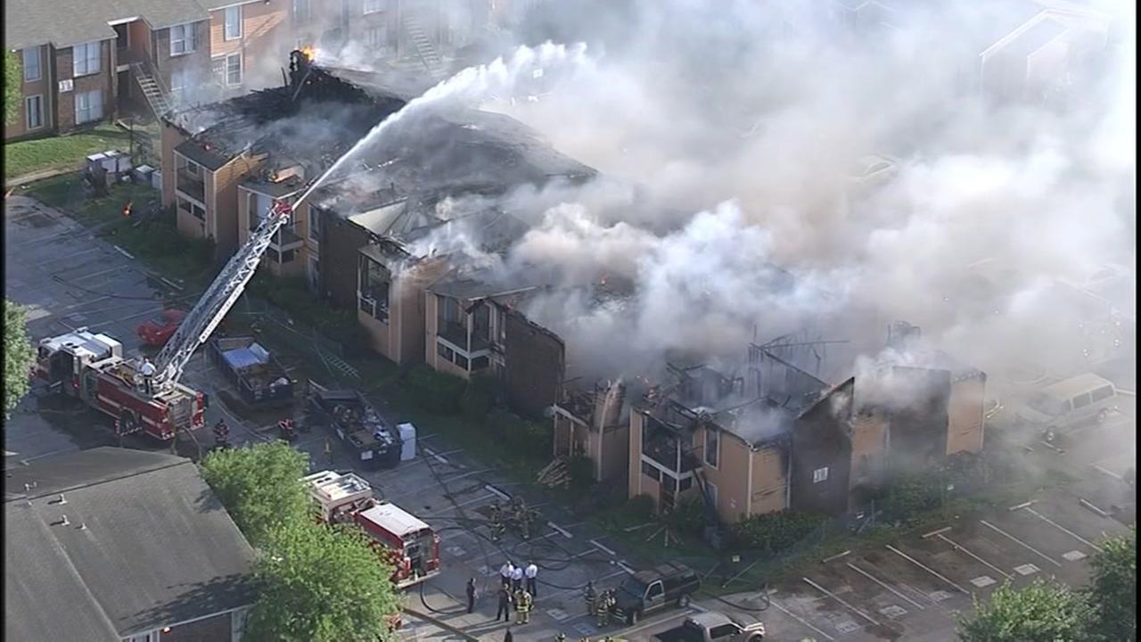 Firefighters battle 2-alarm fire in northeast Harris County