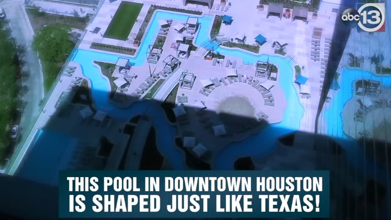 Texas-shaped pool opens atop downtown hotel