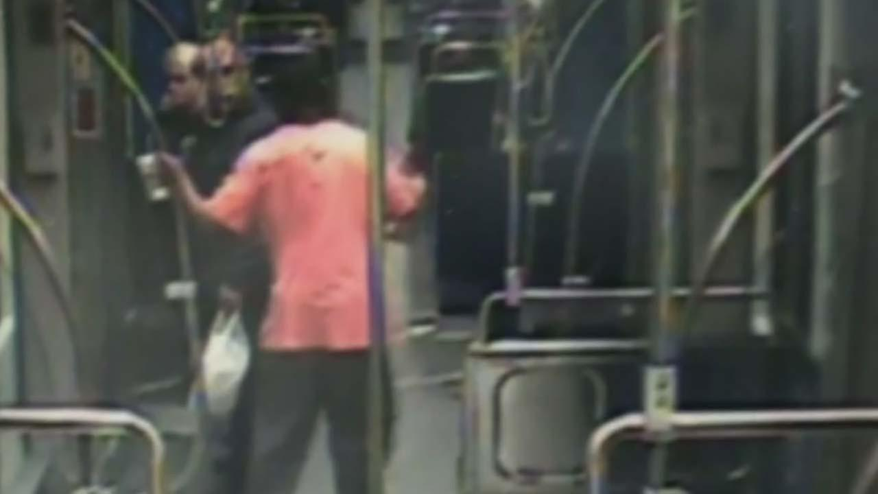 Video shows man being attacked on train