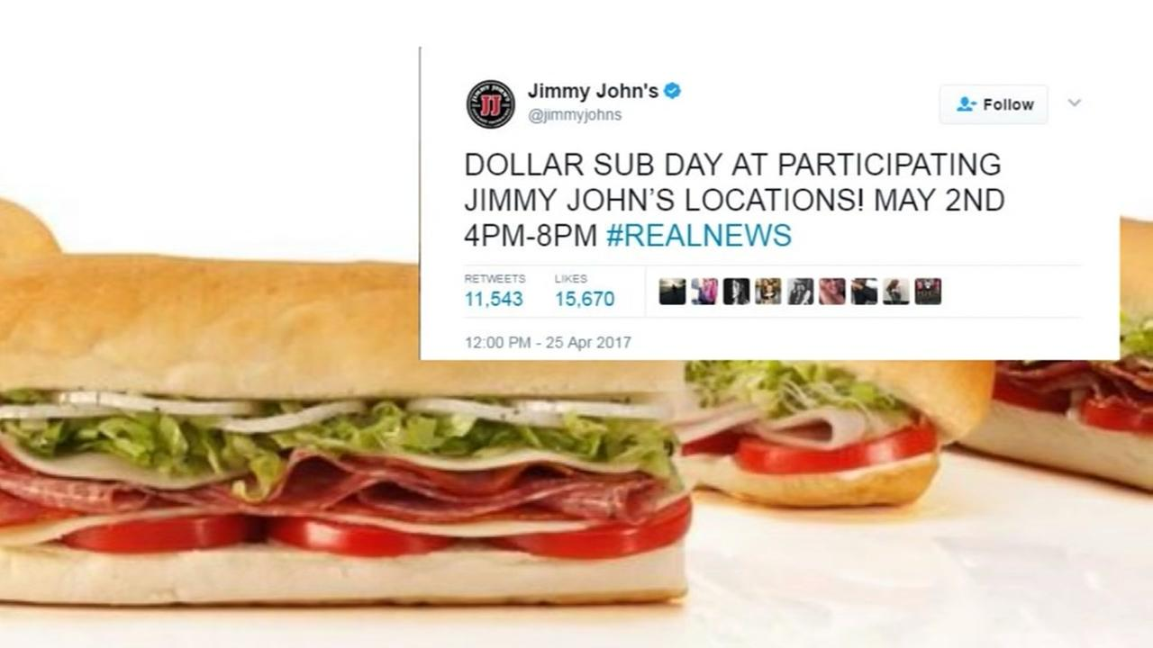 Jimmy Johns 1-dollar subs are coming back