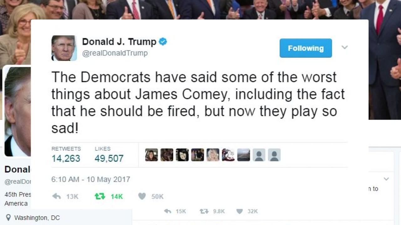 Presdient Trump aims a series of tweets at his critics