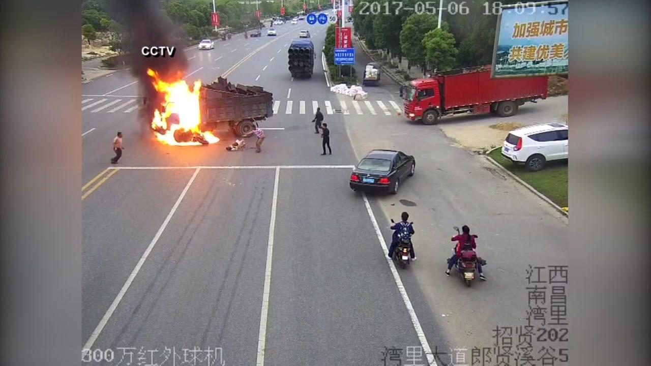 Motorcyclist receives only minor injuries after fiery collision.