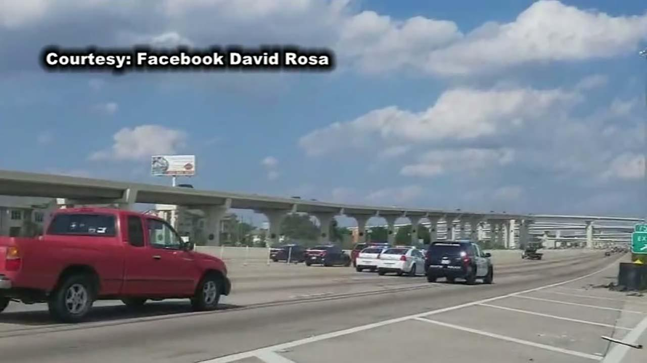 Trooper hits vehicle to stop chase on Katy Freeway