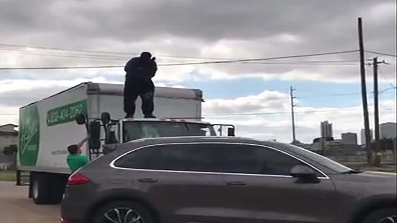 Man smashes moving truck in publicity stunt