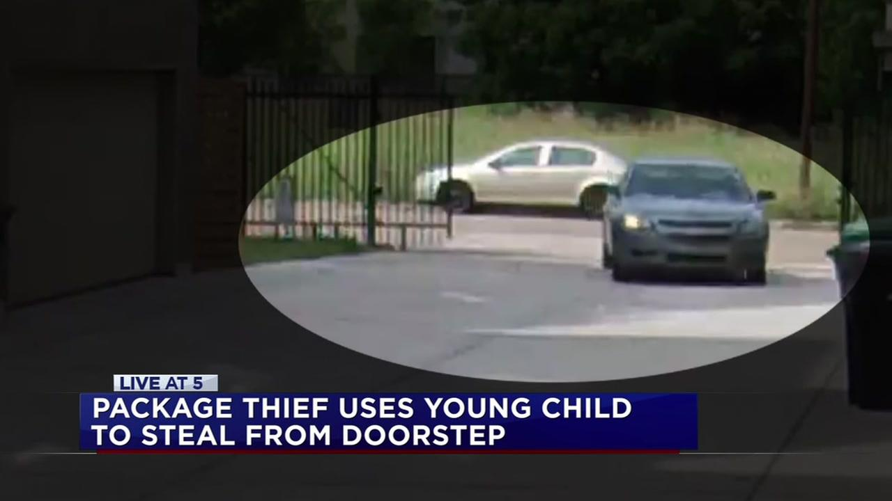 Package thief uses child to steal from doorstep