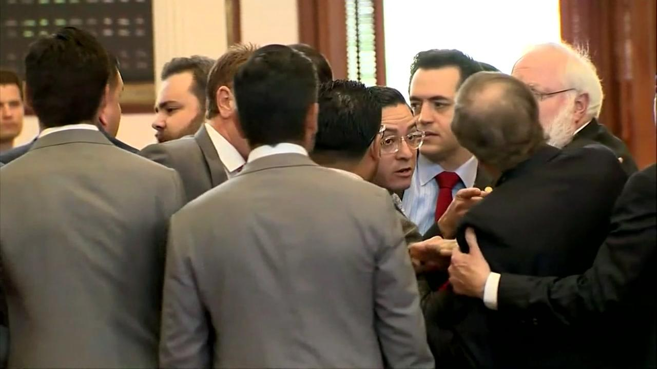 Scuffle breaks out on the House floor in Austin amid protests.