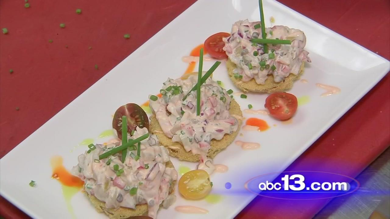 Fried green tomatoes with shrimp salad recipe