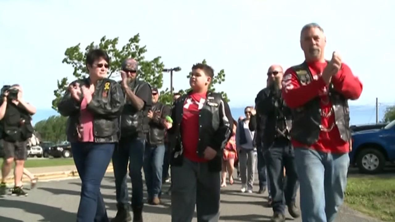 Bikers escort bullied boy to school