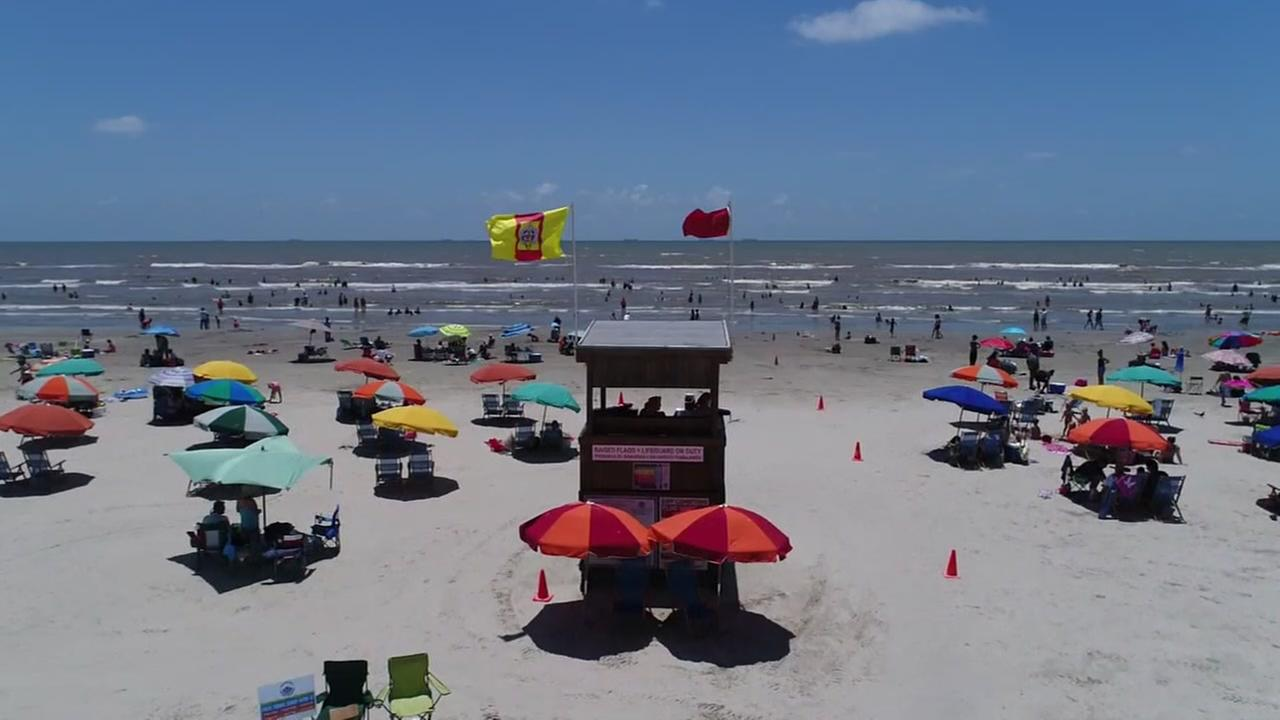 SkyDrone 13 over Galveston Beach