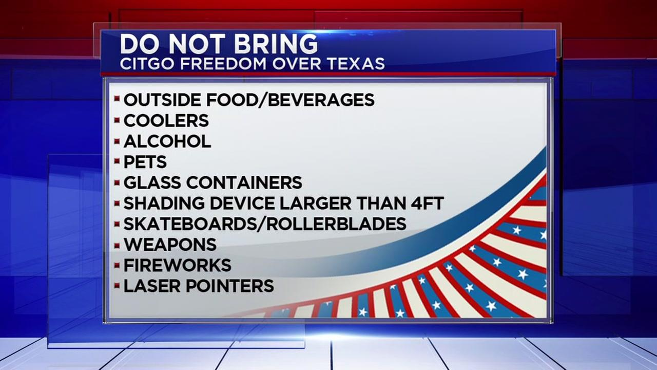 What you can and cannot bring to Freedom Over Texas