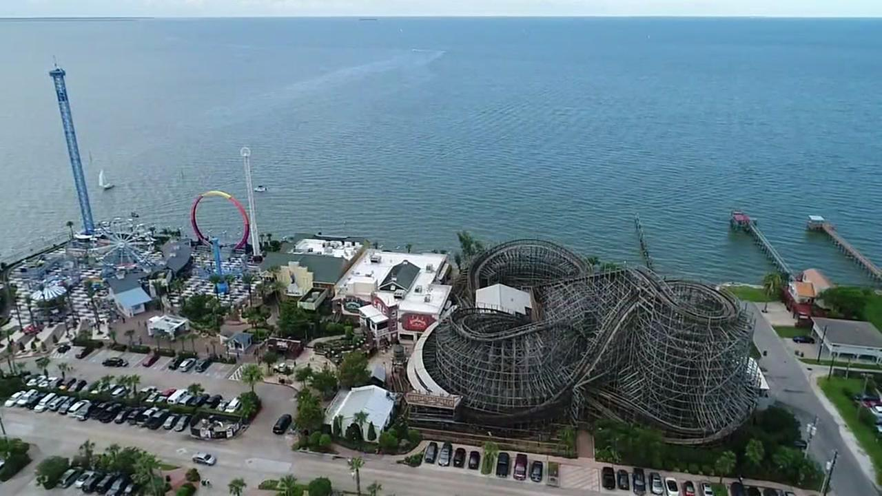 SkyDrone13 moseys over Kemah Boardwalk