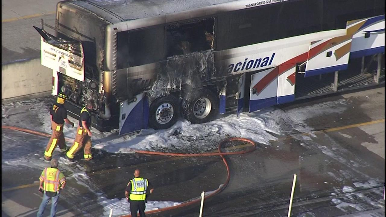 Bus from Houston to Monterrey catches fire, no injuries