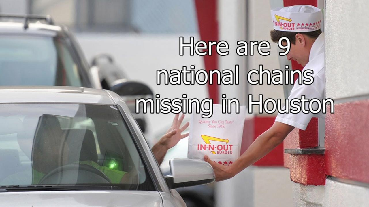 Here are the national chains not in Houston and their nearest locations