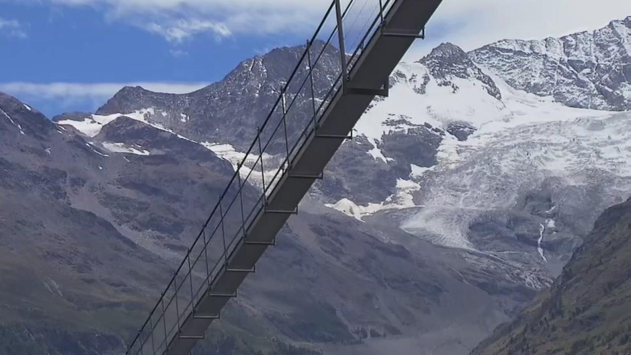 Worlds longest pedestrian suspension bridge opens in Switzerland.