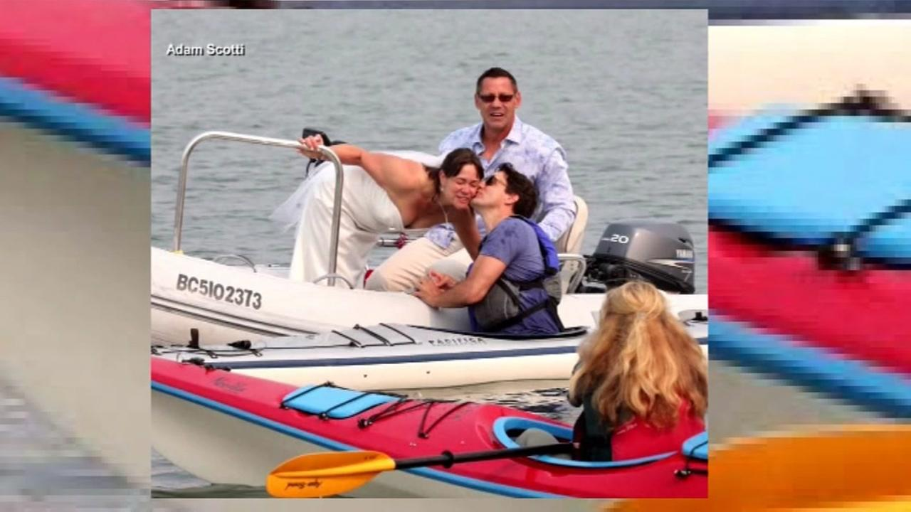 Canadian Prime Minister kisses bride while kayaking.