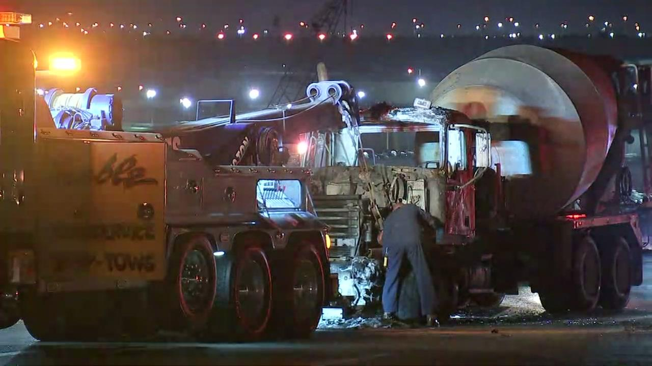 Ship Channel Bridge reopens following cement truck fire and diesel spill