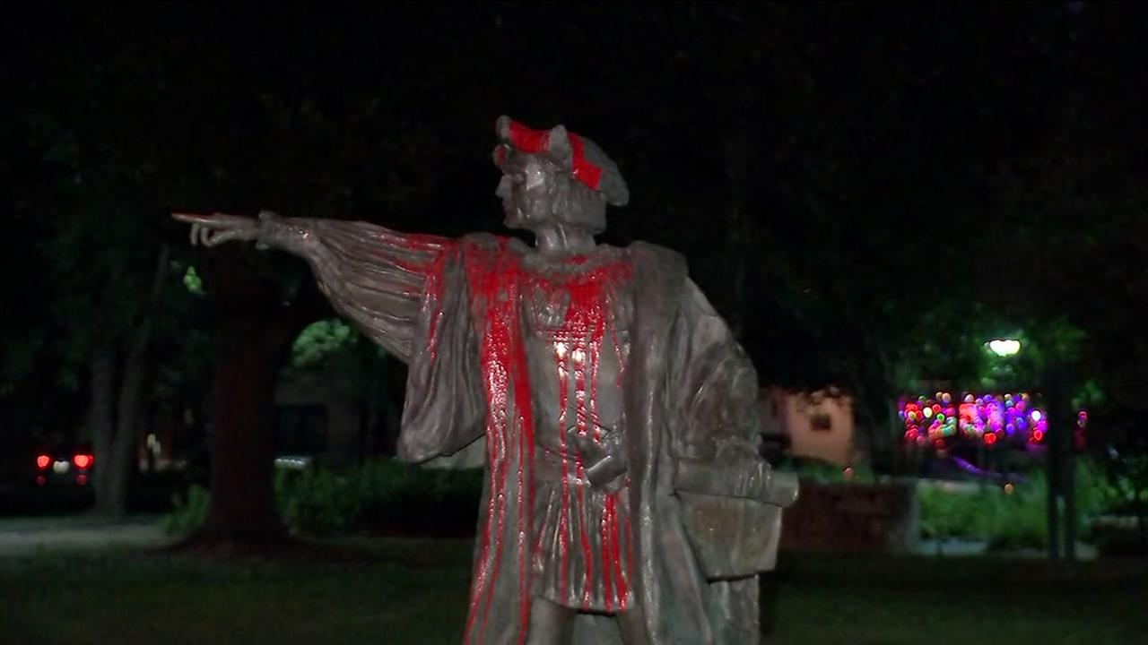 Christopher Columbus statue vandalized in the Museum District