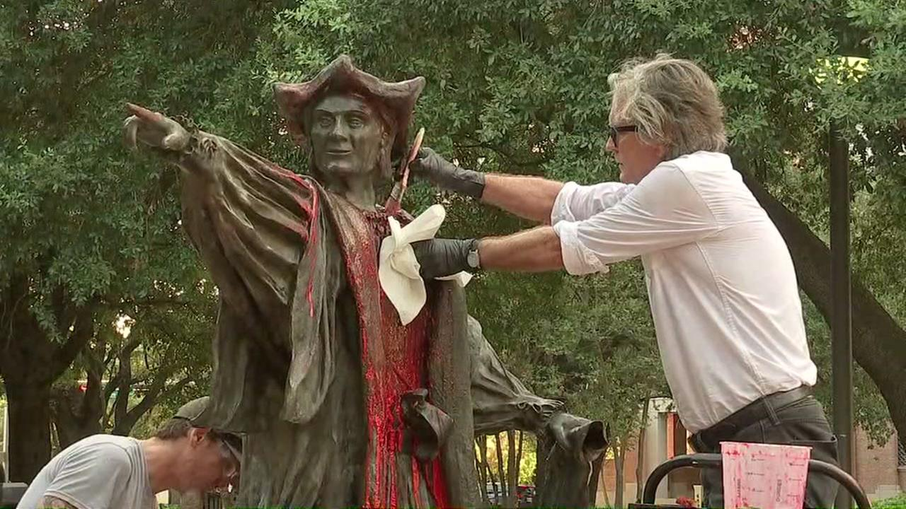 Crews clean Christopher Columbus statue defaced at Houston park