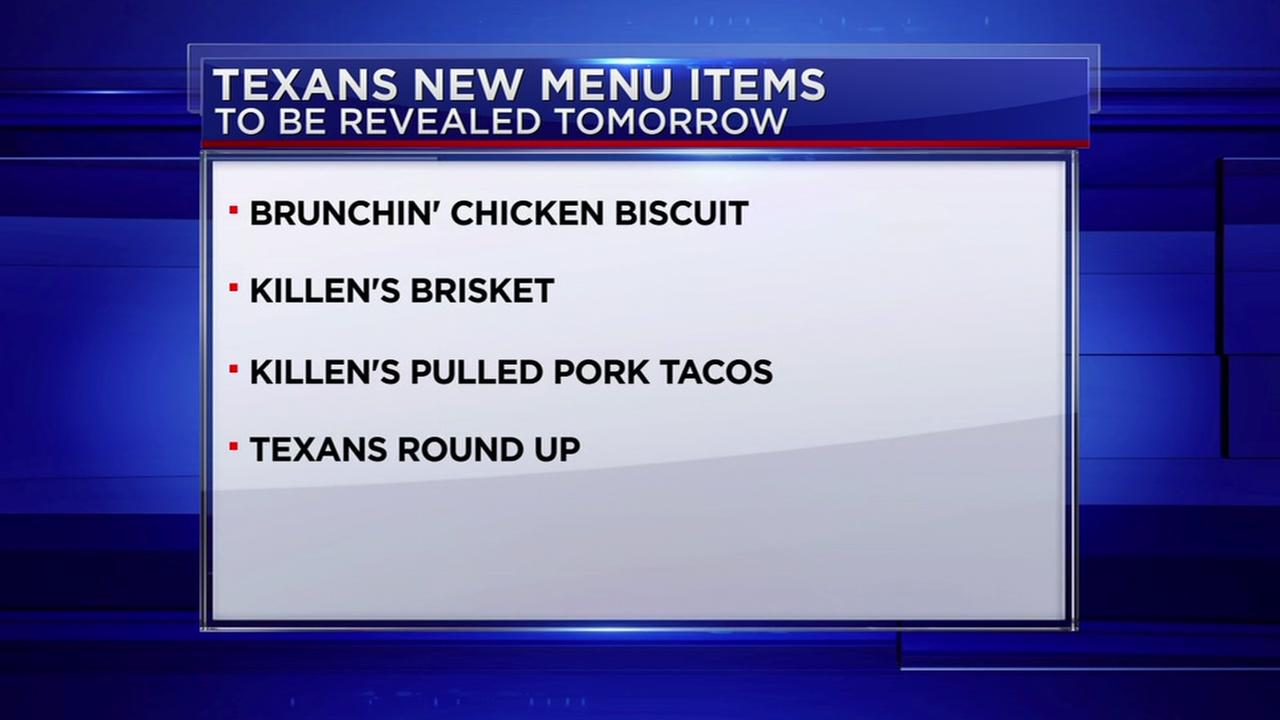 Texans new menu items