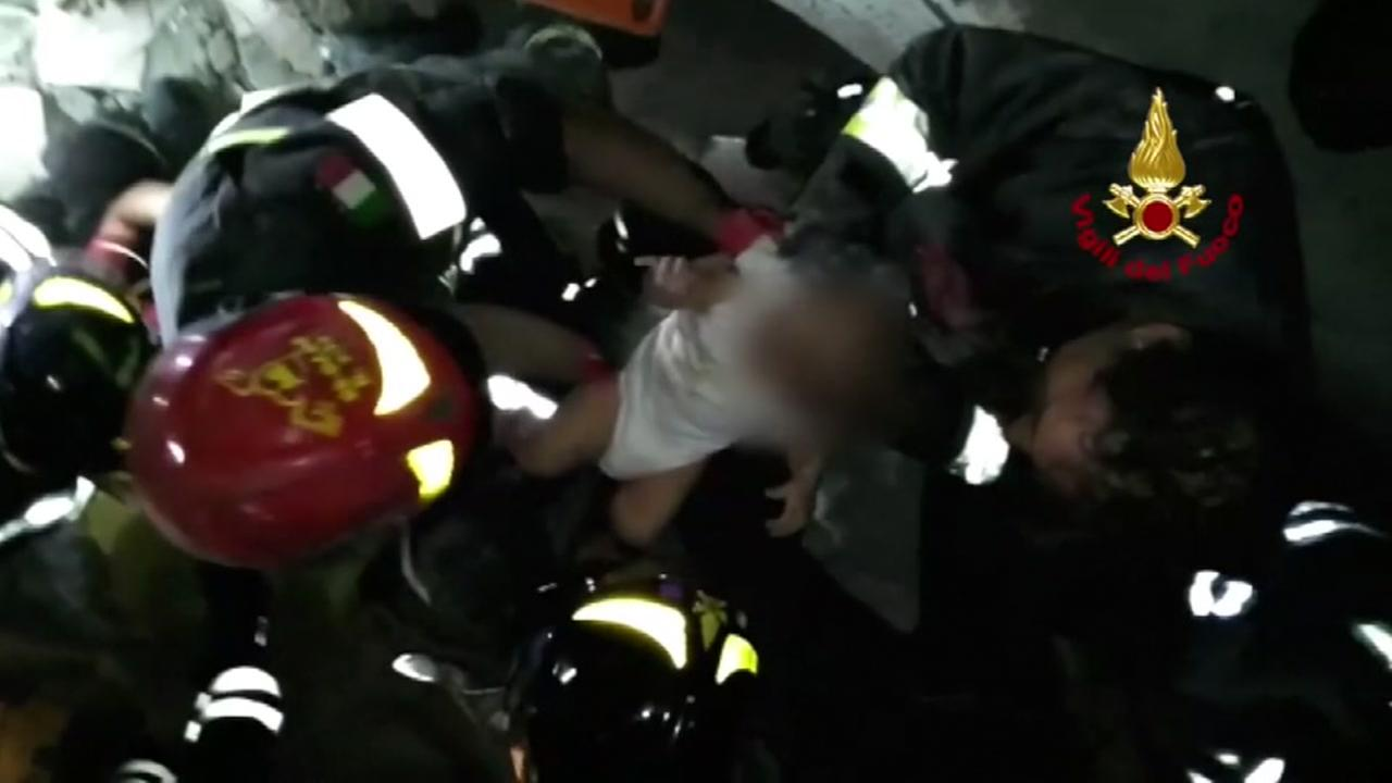 Baby rescued from rubble following earthquake